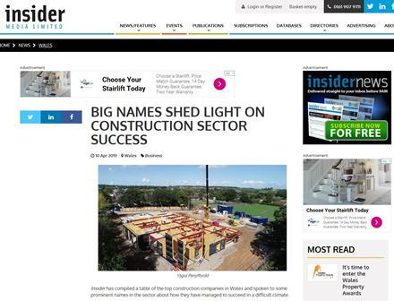 Wynne Construction's industry innovations feature in Wales Business Insider